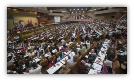 تصویر برگزاری هفتمین کنگرهٔ حزب کمونیست کوبا مردم کوبا پیروز خواهند شد