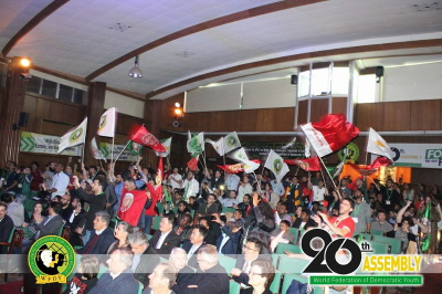تصویر پیام سازمان جوانان تودهٔ ایران به بیستمین مجمع عمومی فدراسیون جهانی جوانان دمکرات